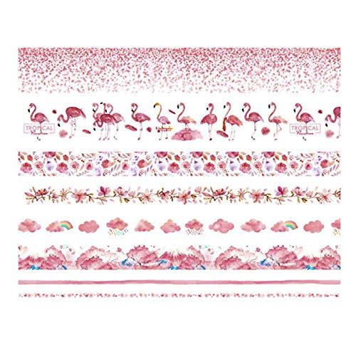 LxwSin Washi tape, Cinta adhesiva decorativa, 8 Rollos Cinta adhesiva washi, Cinta para álbumes de recortes, Cinta adhesiva washi para bricolaje artesanía, diario, decoración, embalaje, calendario