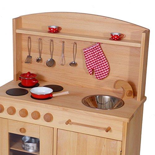 Massivholz-Kinderküche 2024N Natur-Spielzeug-Küche - Herd - Spüle - Backofen - 3