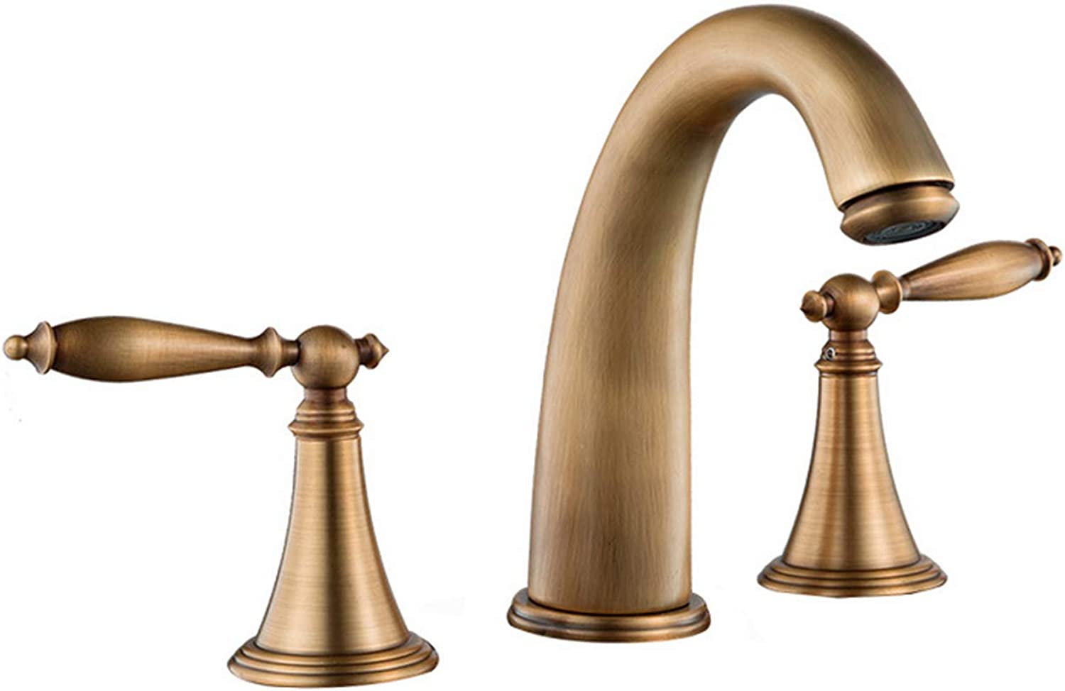 Bathroom Faucet Basin Curved Three-Piece Copper Full Double Handle Hot and Cold Adjustment Sink Water-tap,gold