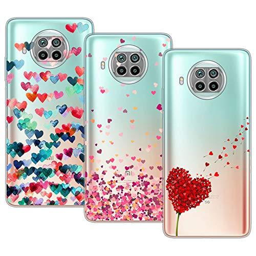 Young & Min Cover per Xiaomi Mi 10T Lite 5G, 3 Pack Sottile Morbido TPU Bumper Silicone Antiurto Protettiva Custodia per Xiaomi Mi 10T Lite con Disegni Cuore