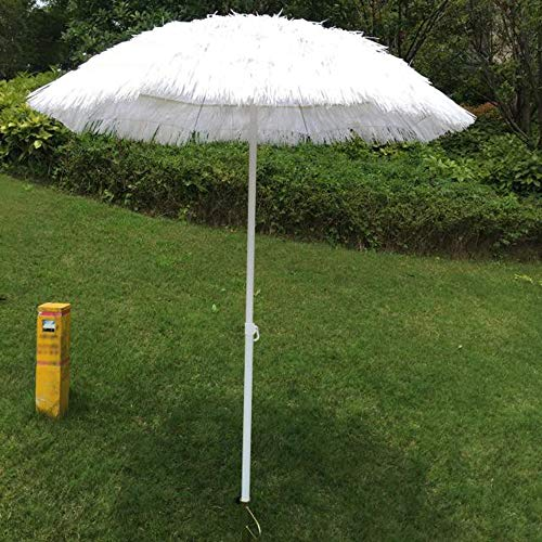 ZMLQ Sombrilla De Paja De 1,8 M, Paraguas De Jardín Blanco, Paraguas De Hula Tiki Hawaiano, 2,1 M De Altura, Poste De Hierro De 32 Mm