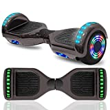 cho 6.5' inch Hoverboard Electric Smart Self Balancing Scooter with Built-in Wireless Speaker LED Wheels and Side Lights Safety Certified (Chrome Black)