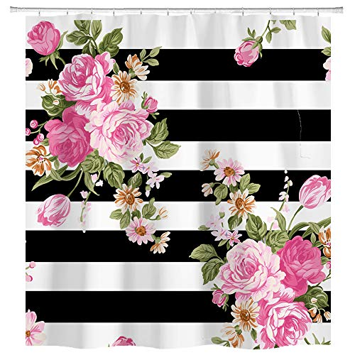 Floral Black and White Striped Curtain