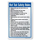 """SmartSign 15 x 10 inch """"Hot Tub Safety Rules - Shower Before Entering, No Jumping Or Diving~ Sign with Pre-Punched Holes, Digitally Printed, 55 mil HDPE Plastic, Blue, Black and White"""