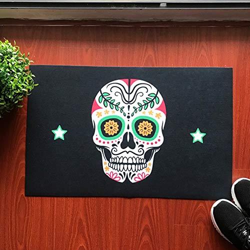 N / A Felpudo de Entrada Estilo Punk Calavera decoración de Halloween Alfombra de Piso de Entrada de Flocado de Goma Alfombra de Piso de Cocina de baño alfombras de Sala de estar-24x36 Inch