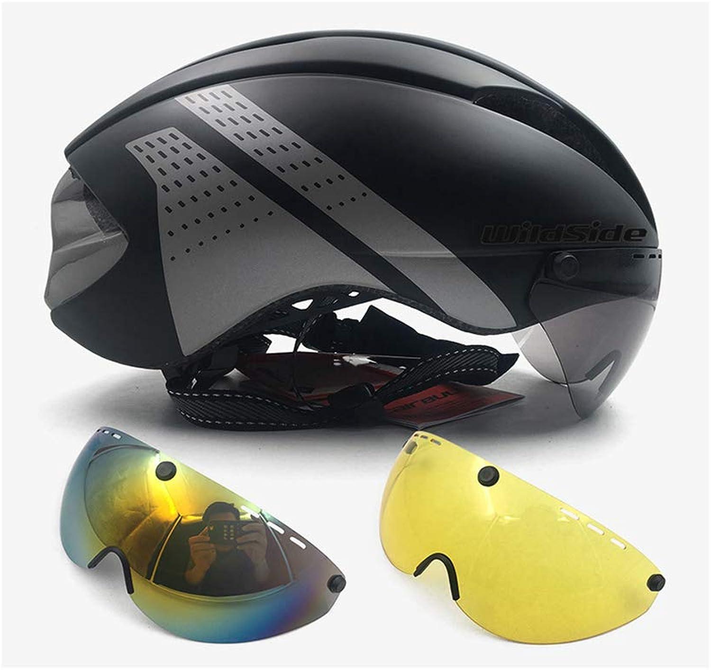 Fire Run Helmet Bike Cycling Helmet Road MTB Mountain Integral Triathlon Bike Helmet Men Race TT Bicycle Helmet with Glasses