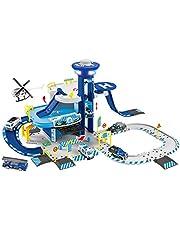NEWRICE Juego de juguetes de estacionamiento de 3 pisos, con luces y sonidos, 1helicóptero+6 piezas de metal fundido a troquel coches, pista, garaje, lift.for 3-6 años niños y niñas/niños