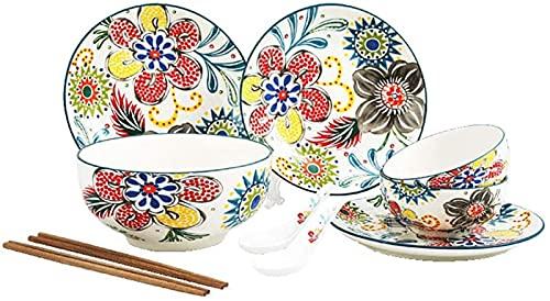 JXH Juego de platos de cena, 10 piezas de vajilla de porcelana con platos de cena, cucharas, palillos, resistentes al calor, lavavajillas y microondas, servicio seguro para 2 personas, Euro Ceramica