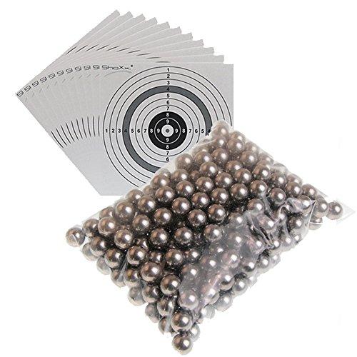 2.000 gehärtete ShoXx. Stahlkugeln Kaliber 6mm & 25 shoot-club Zielscheiben - Schleudermunition