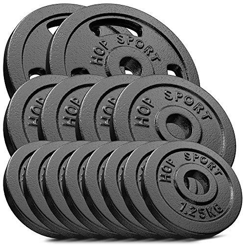Hop-Sport 30kg Gusseisen Hantelscheiben 30 mm - Gewichte Hantel Sets zur Auswahl: 2x5kg+2x10kg / 4x2,5kg+4x5kg / 8x1,25kg+4x2,5 kg+2x5kg (8x1,25kg+4x2,5 kg+2x5kg)