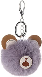 Sanwooden Faux Rex Rabbit Fur Cute Bear Keychain Pendant Keyring Women Bag Hangings