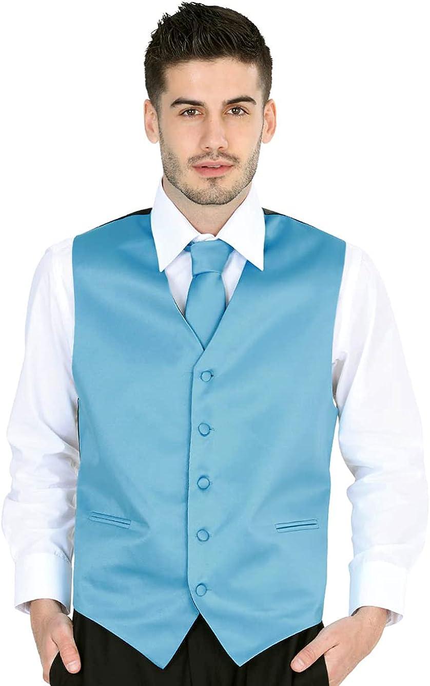El General Men's Formal Dress Vest Color Turquoise 100% Polyester Five Buttons