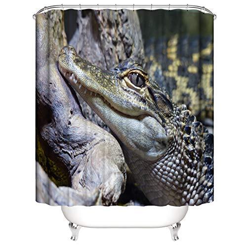 SLN Wildes Krokodil. Duschvorhang. 180 X 180 cm. 12 C-Förmige Haken. Einfach Zu Säubern. Wasserdicht. Nicht Verblassen. Haus Dekoration.
