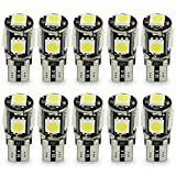 Lot de 10 ampoules LED T10 5 SMD blanches pour voiture, moto, bateau, plaque d'immatriculation ou éclairage intérieur ou extérieur