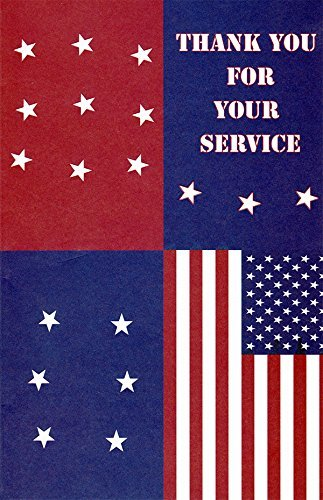 Patriotic Thank You for Your Service Greeting Cards in a Bulk 12 Pack
