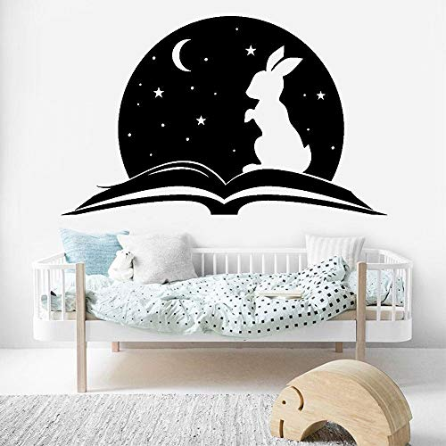 Sprookje vinyl muurtattoo woonkamer verhaal open boek magisch konijn muursticker voor babykamer leuke home decor <> 58x95cm