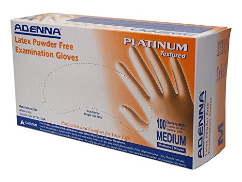 Adenna Platinum 5.5 mil Latex Powder Free Exam Gloves (White, Medium) Box of 100