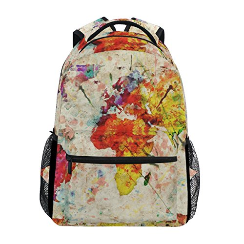 TIZORAX Mochila vintage con mapamundi para la escuela, mochila de senderismo