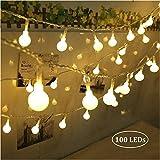 Qedertek 100 LED Kugel Lichterkette Weihnachtsbaum, 10M Weihnachtsdeko Lichterkette mit Stecker für Innen und Außen, 8 Modi und Timer Funktion Dimmbar mit Fernbedienung, Ideale für Zimmer, Party