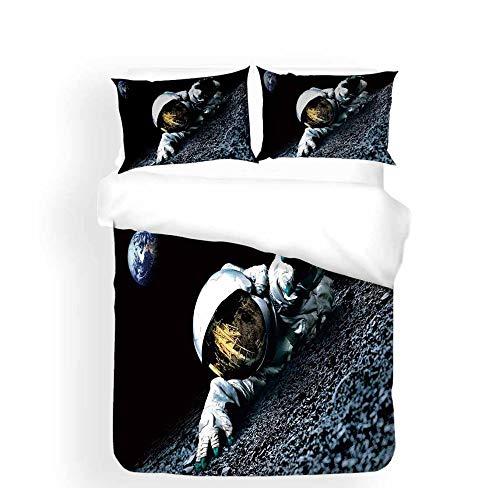 Ensemble De Literie Léger Ultra Doux Respirant Motif Astronaute D'Atterrissage sur La Lune Noir avec Housse De Couette en Microfibre À Glissière avec Taies d'oreiller (200 x 200cm) pour Enfants Adult
