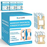 JJ CARE Adhesive Knuckle Bandages and Fingertip Bandages [Pack of 150] Fabric Knuckle Bandages - Elastic, Flexible Fabric Bandages - Highly Absorbent & Excellent Wound Care for Minor Cuts, Scrapes
