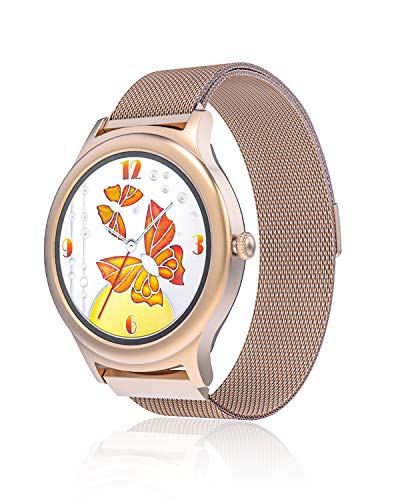 Smartwatch Fashion da Donna, BlitzWolf Orologio Intelligente Femminile da Moda Touch Completo Smart Watch Sport Cardiofrequenzimetro Monitor del Sonno Notifiche SMS Pedometro per Android iOS (Oro)