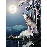 Ginfonr 5D Diamond Painting Diamante Pintura Luna lobo de hielo Por Kits Numéricos Pintura De...