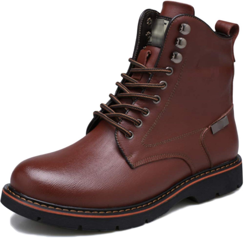 QIKAI Desert Combat Boots Men's Casual Martin Boots Plus Velvet Mid Boots Fashion Military Boots