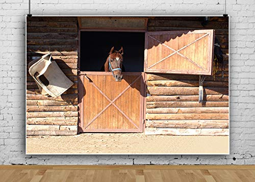 AOFOTO 7x5ft Vintage Kentucky Farm Backdrop Old-Fashioned Wooden Barn Retro Horse Stable Shed Cabin Photography Background Kid Boy Man Portrait Western Photo Studio Props Derby Party Decoration Vinyl