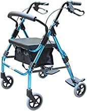 Lightweight Travel Walker, Fold Walking Aids with Seat, Ultra Mobility Aid Four Wheels, Drive Medical Rollator Walking Fra...