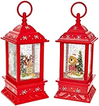 """11"""" Battery Operated Red Christmas Pup Puppy Lanterns with Timer (Set of 2)"""