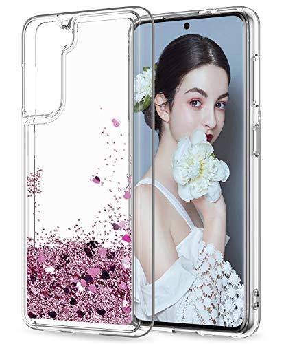 LeYi Funda Samsung Galaxy S21 5G Silicona Purpurina Carcasa, Transparente Cristal Bumper Telefono Gel TPU Fundas Case Cover para Movil Samsung S21 5G ZX Oro Rosa
