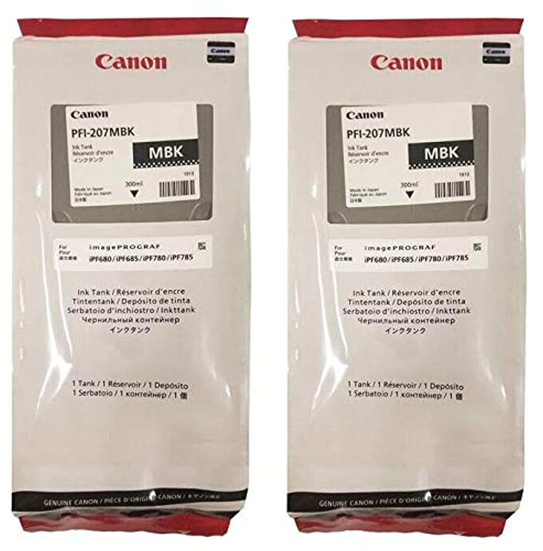 Canon 2-Pack PFI-207MBK 300ml Matte Black Ink Cartridges by CES Imaging