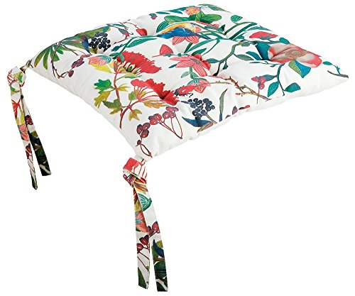 Gilde Cuscino per Sedia, Bianco con Tema Fiori e Uccellini, Dim: 40x40x5 cm, (Bella Vita)