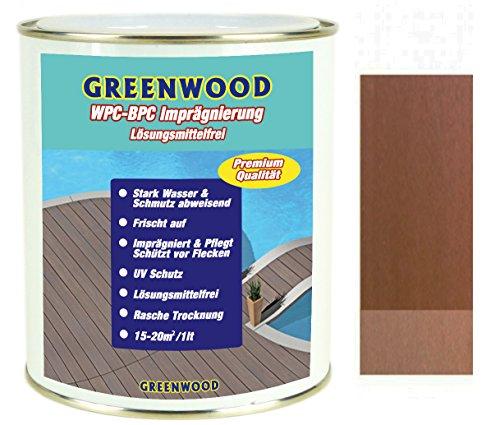 Greenwood - Premium WPC Pflege & Schutz Imprägnierung - Bangkirai/Mittel-Rotbraun #4L - 750ml - Lösungsmittelfrei - Keine Ausdünstungen - Haustierfreundlich - Schadstofffrei