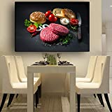 Meat Vegetable Kitchen Canvas Painting Scandinavian Posters and Prints Wall Art Food Picture Living Room Home Decor 40X60CM
