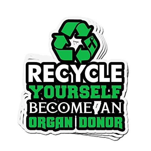 3 PCs Stickers Recycle Yourself Become an Organ Donor Awareness 4 × 3 Inch Die-Cut Wall Decals for Laptop Window