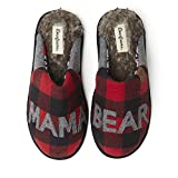 Dearfoams Women's Mama Bear Slipper, Furry Plaid, Small