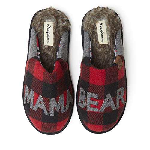 Dearfoams Women's Mama Bear Slipper, faux faux fur Plaid, Small