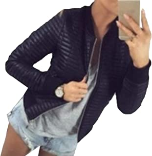 Women's Classic Solid Striped Long Sleeve Stand Collar Biker Jacket Zip Up Fashion Bomber Jacket Coat