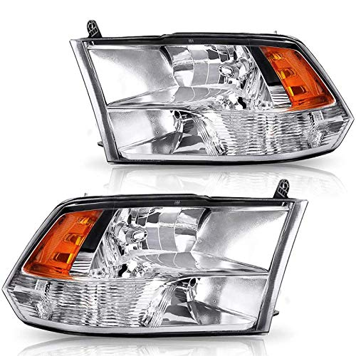 PETGIRL Compatible with 2009 2010 2011 2012 2013 2014 2015 2016 2017 2018 Dodge Ram HEADLIGHTS 1500 2500 3500 Pickup CHROME HOUSING Amber REFLECTOR Passenger and Driver Side