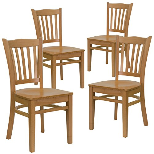 Flash Furniture 4 Pk. HERCULES Series Vertical Slat Back Natural Wood Restaurant Chair