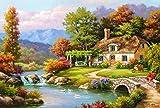 Madera Puzzle 1500 Piezas París - Cabaña junto al río en el bosque de otoño - Diy Adultos Ocio Toys Decoracion