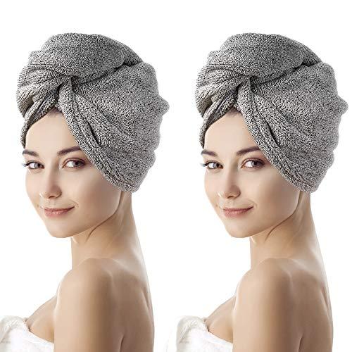 OTHWAY Toalla de pelo de fibra de carbón de bambú orgánico, turbante de secado rápido súper absorbente con botón, antifrizz y suave y gruesa para cabello largo grueso y rizado (2 unidades)