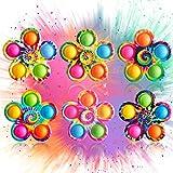 Pop-Fidget-Spinner-Popper-Toy, 6 Packs Tie-Dye Pop Fidget Spinner Toy, Simple Dimple Fidget Popper Toy, Pop Bubble Fidget Sensory Toy, Fidget Spinners for Stress Relief, Popping Fidget Pack for Kids