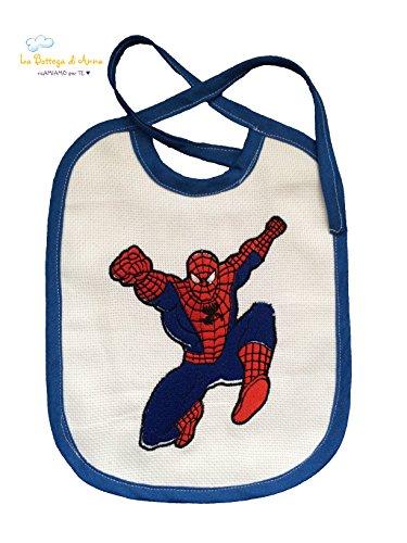 Bavoir en toile Aïda avec broderie Spiderman – enfant – avec lacets – Dimensions : 31 x 25 cm