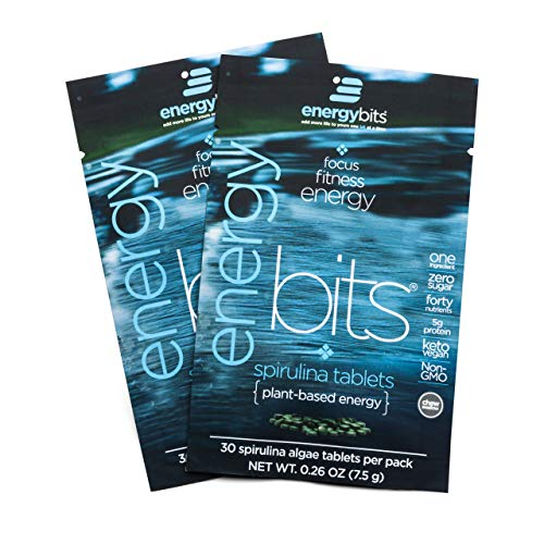 ENERGYbits Pure Spirulina Tablets - Pack of 2 Single Servings (7500mg per Serving) - Non-GMO, Non-Irradiated, Raw, Blue Green Algae - Keto, Vegan Friendly