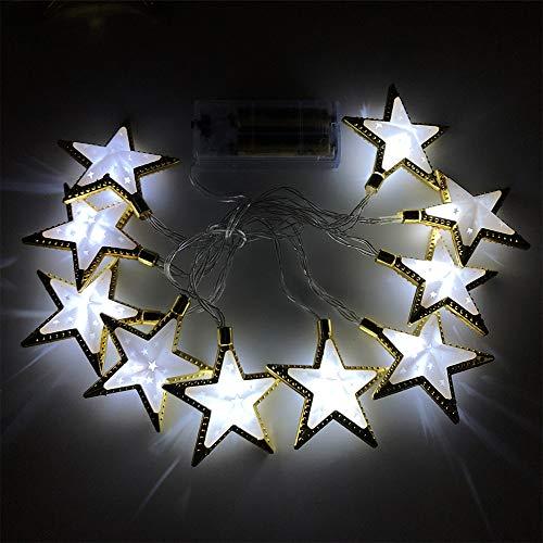 LIAWEI 1,65 m 10 LEDs Phnom Penh hueco estrella luna luz tira Ramadán decoración de luces para dormitorio, cortina, fiesta, boda, decoración de Navidad