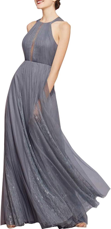 Women's Tulle Bridesmaid Dresses Long Split Wedding Party Dress Grey