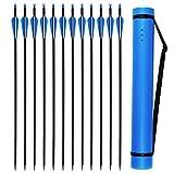 VNAKER Archery 30Inch Carbon Arrow Set with Arrow Quiver for Compound & Recurve Bow, 12 Pcs Arrow and 1Pcs Quiver (Blue)
